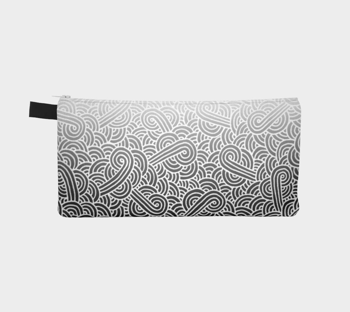 Aperçu de Ombre black and white swirls doodles Pencil Case #2