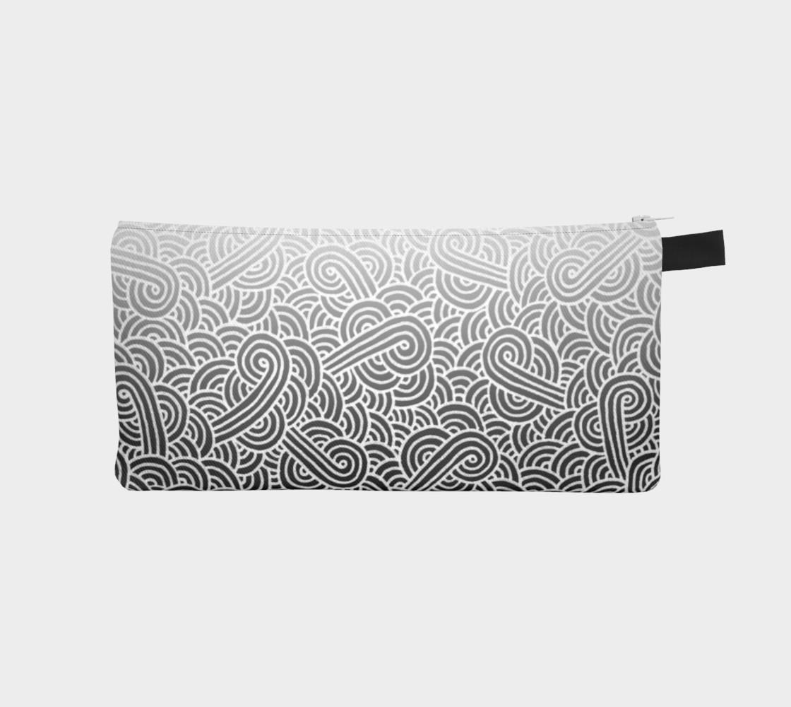 Aperçu de Ombre black and white swirls doodles Pencil Case #1