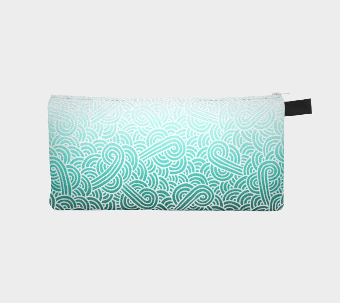 Ombre turquoise blue and white swirls doodles Pencil Case preview #1