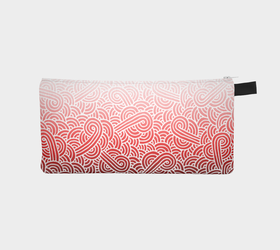 Ombre red and white swirls doodles Pencil Case preview #1