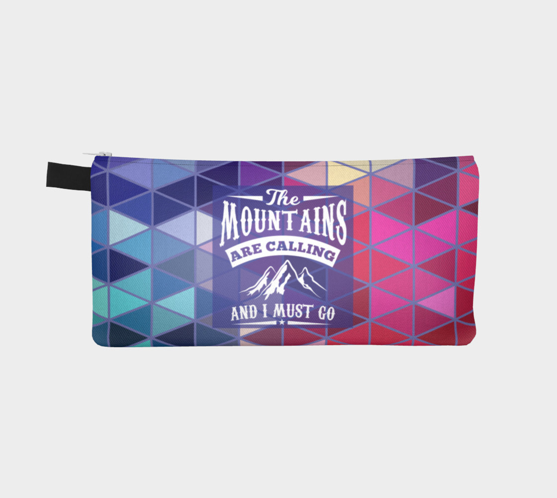 The Mountains are Calling and I Must Go - Geometric Triangle Prism Design Pencil Case preview #2