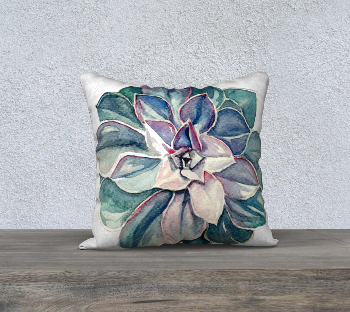 Watercolor Succulent Pillow (Cool Palette) preview #1