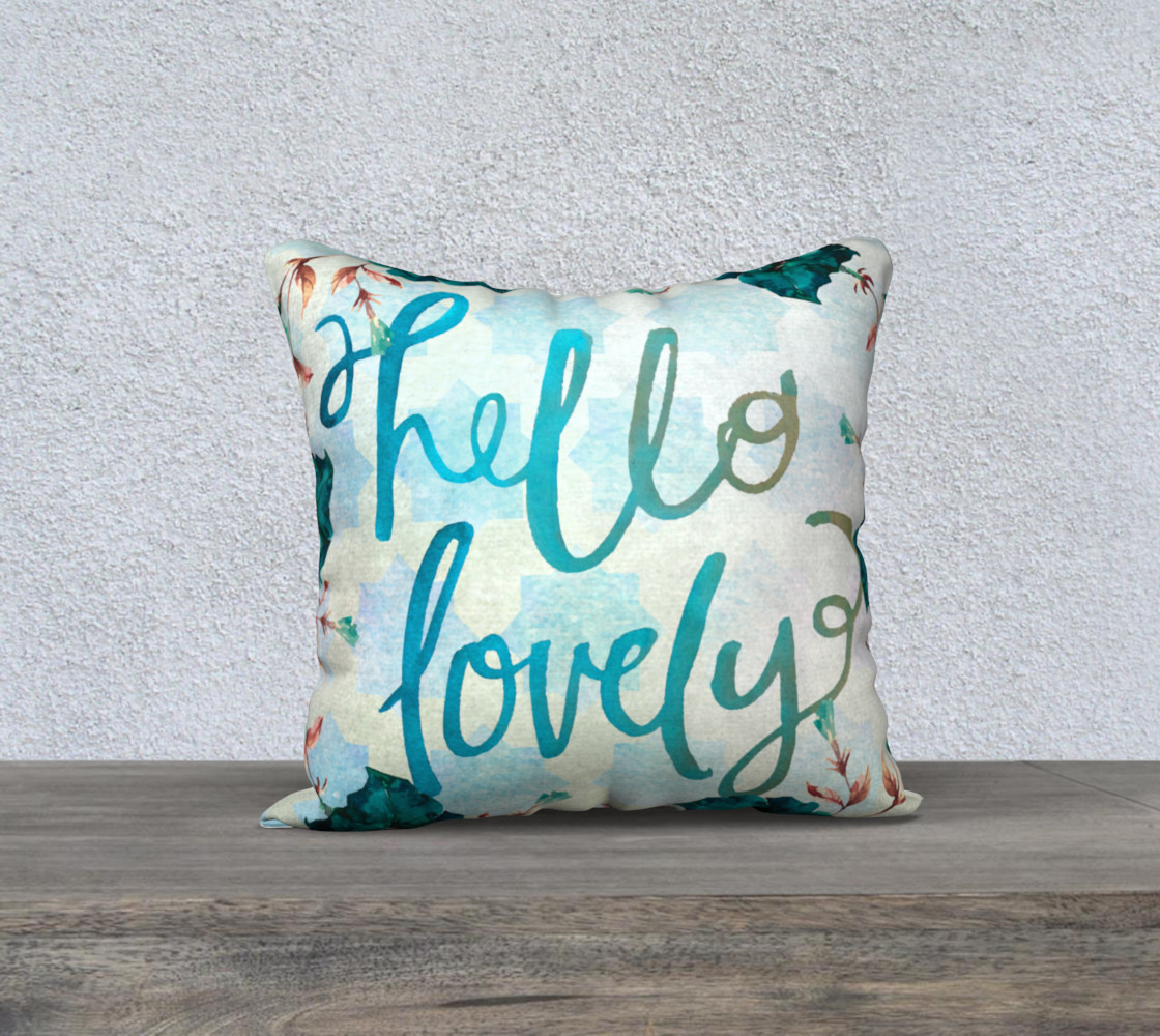 Hello Lovely Watercolor Pillow preview #1