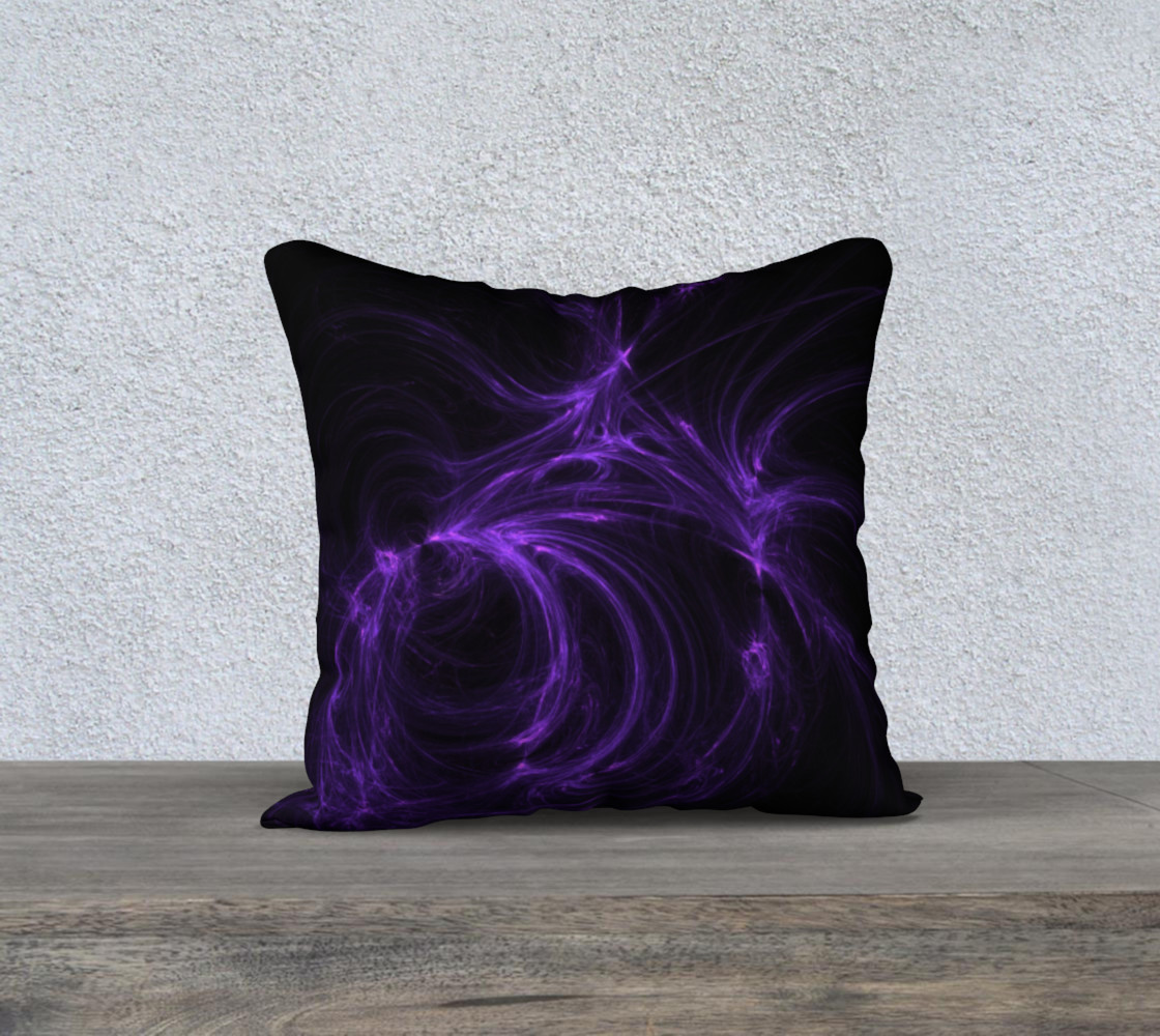 Purple Fractal on Black Pillow Case 18 x 18 preview #1