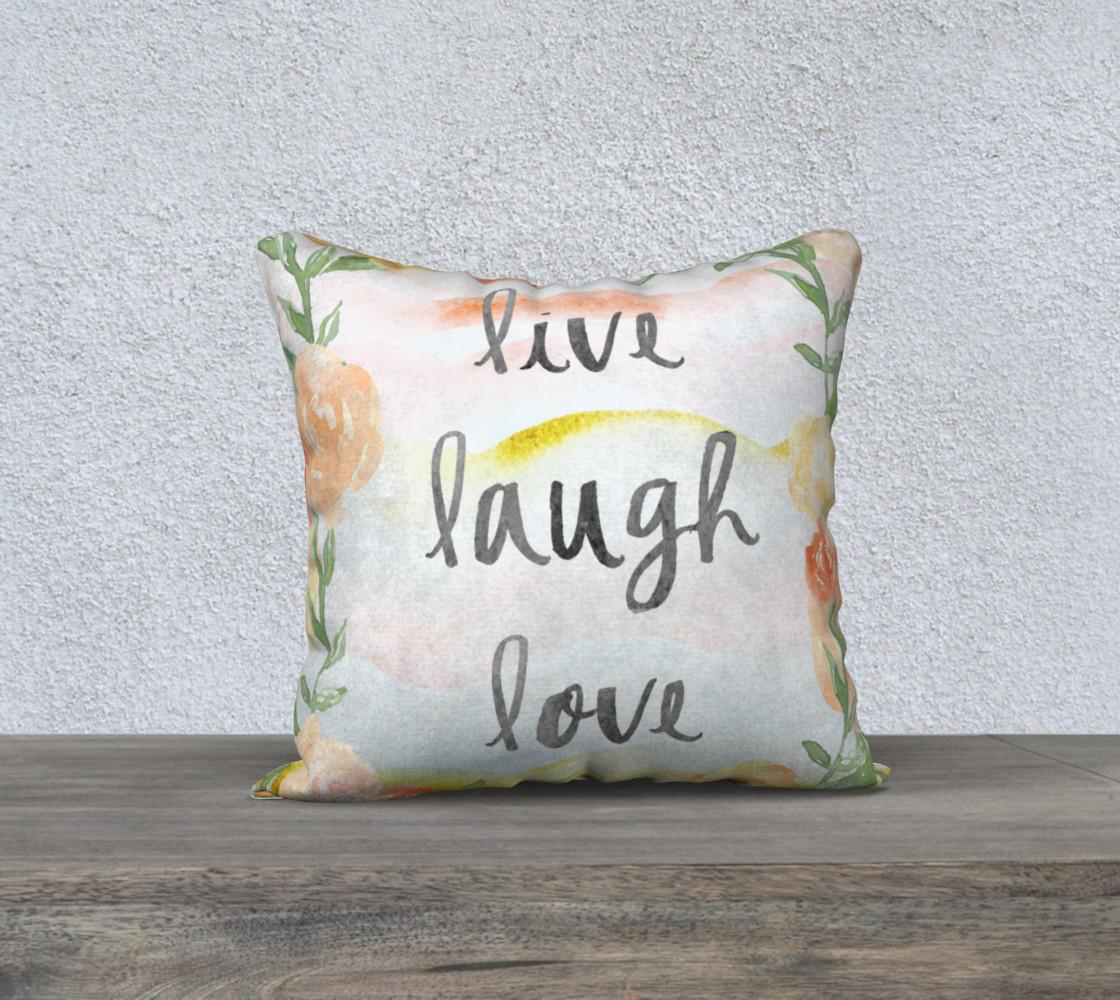 Live Laugh Love Warm Tone Floral Pillow preview #1