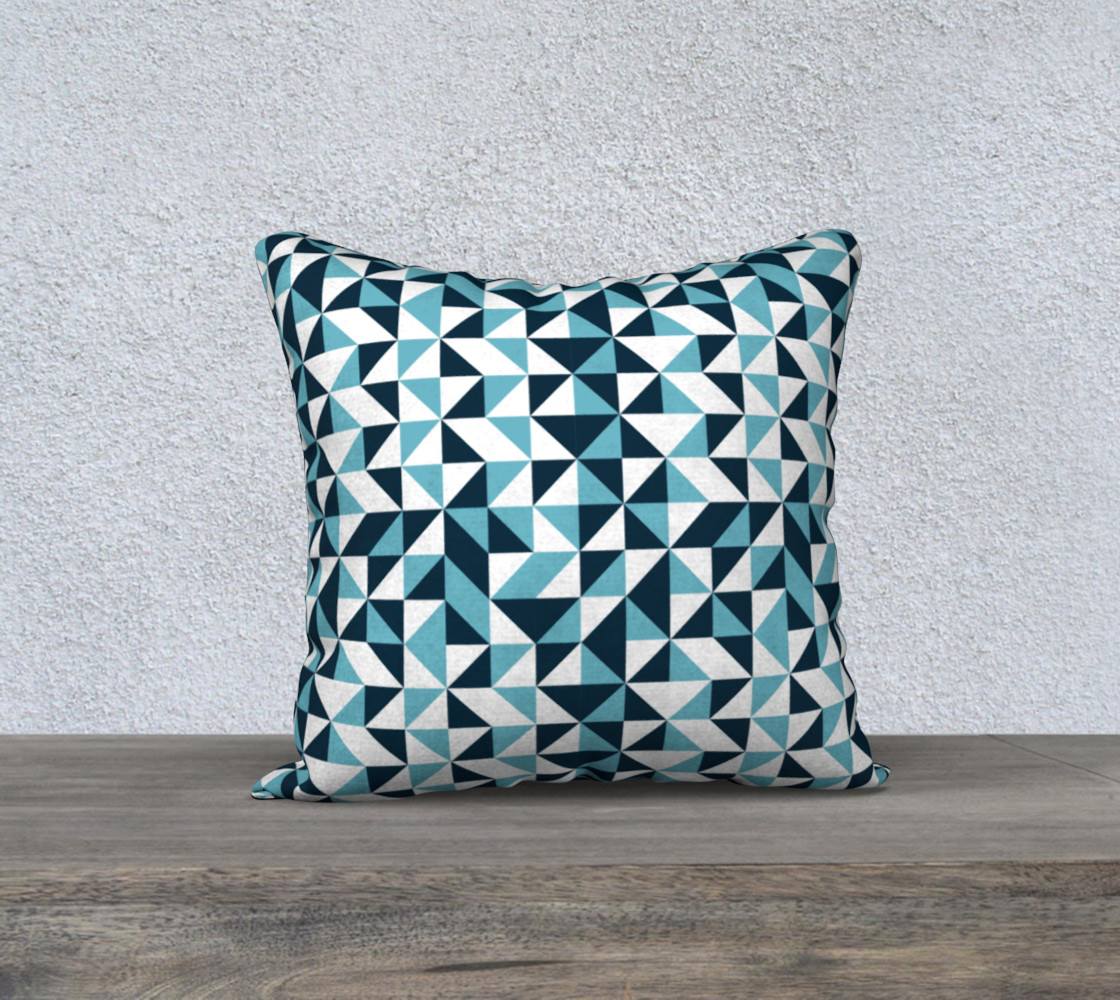 Blue Triangles 18x18 Pillow Case preview #1