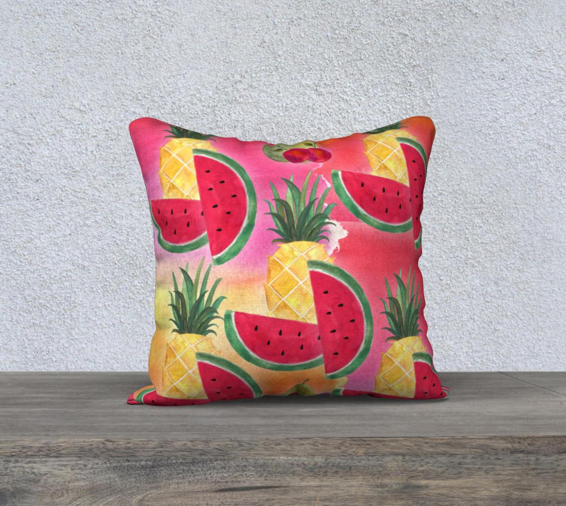 Aperçu de Watercolor Fruit Watermelon Pineapple Pear Cherry Pillow Case #1