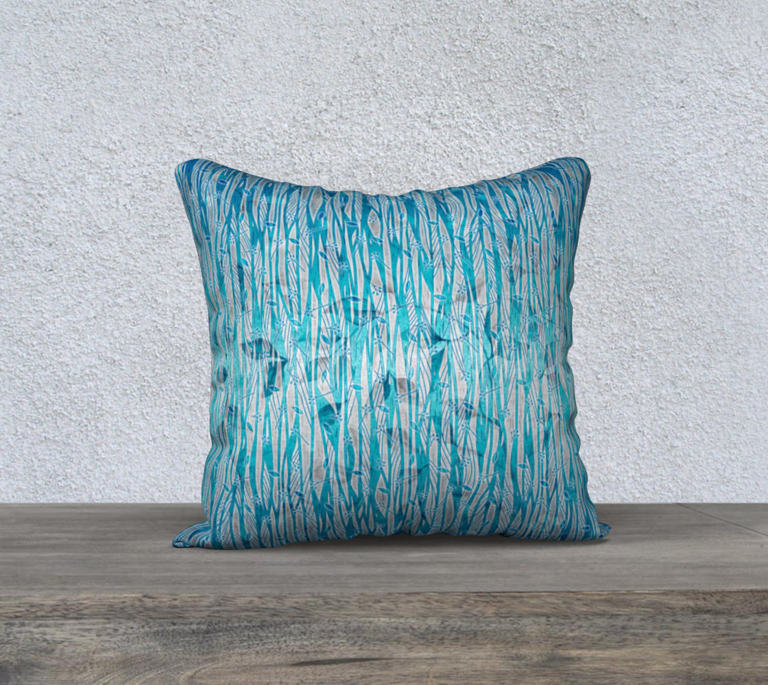 Blue Turquoise Silver Leafy Floral Pillow Case preview #1