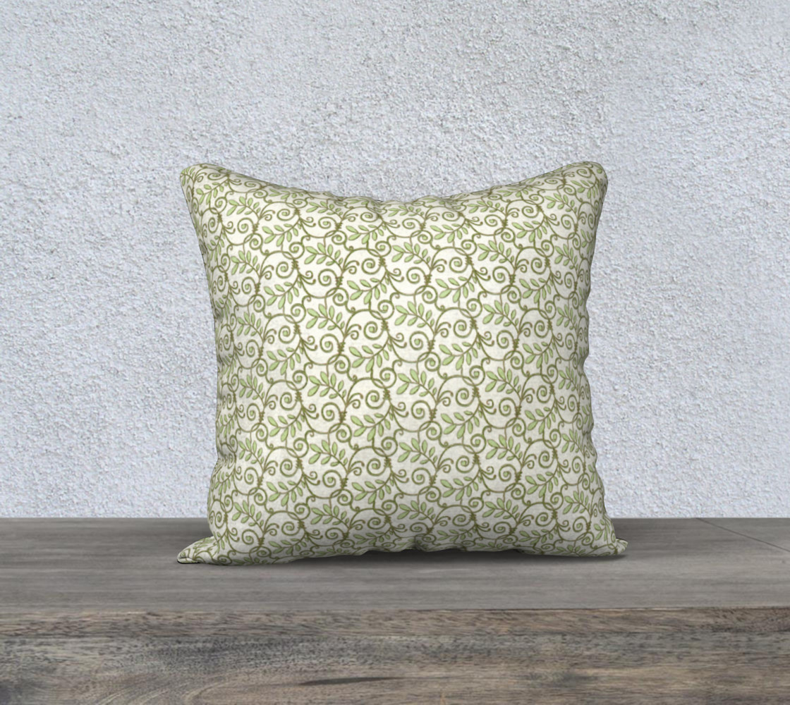 Green Cream Leafy Lace Floral Pillow Case preview #1