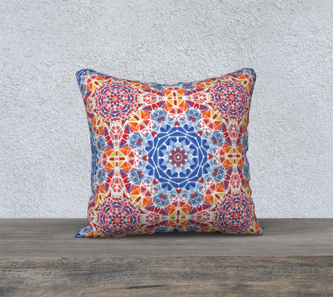 """Blue and Orange Kaleidoscope 18"""" x 18"""" Decorative Pillow Case preview #1"""