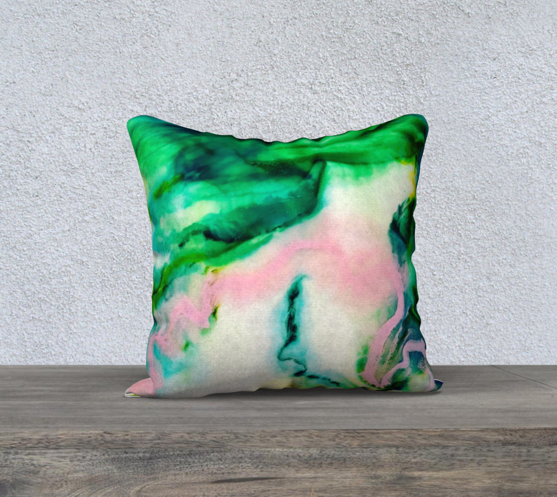 Green Pink Marble Abstract Painting Pillow 18 preview #1