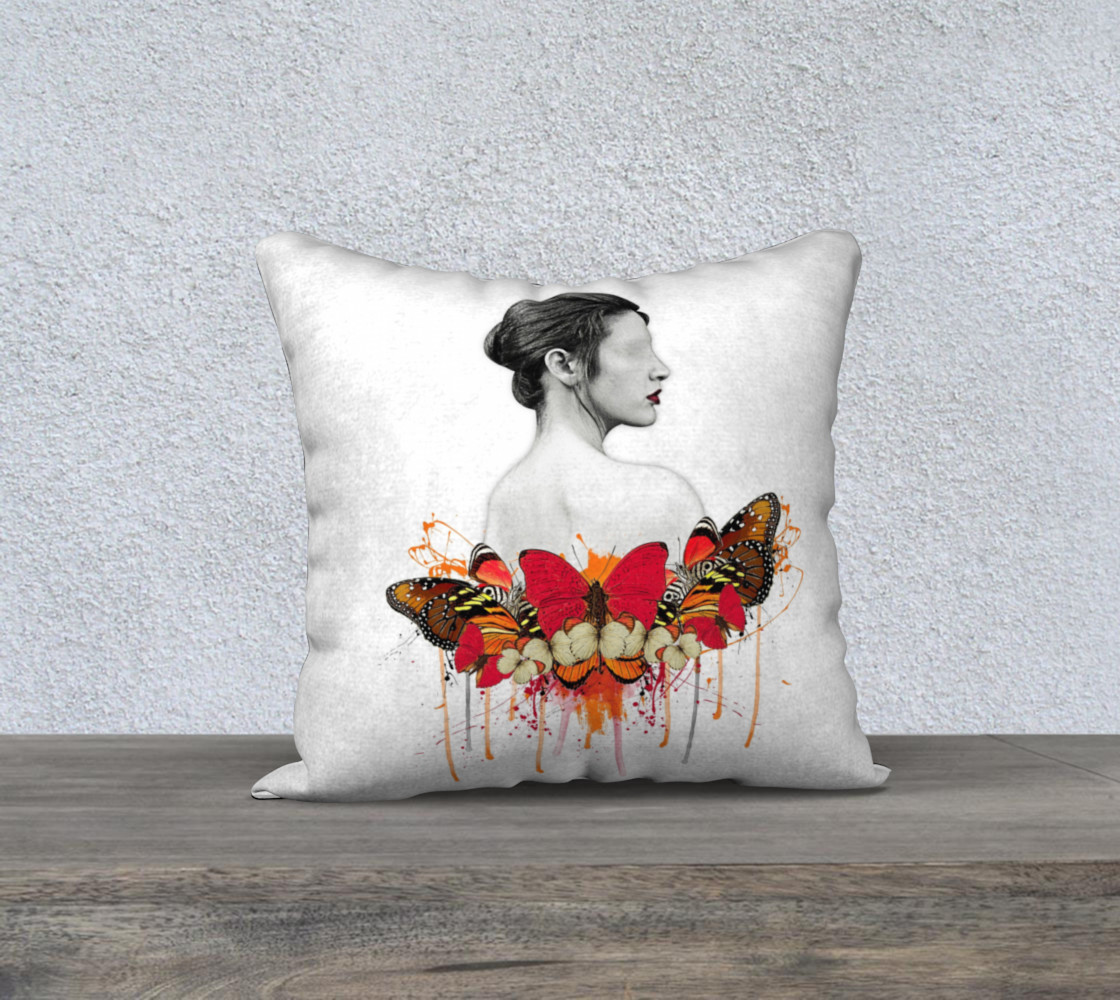 Aperçu de Lady Butterfly Abstract Pillow #1