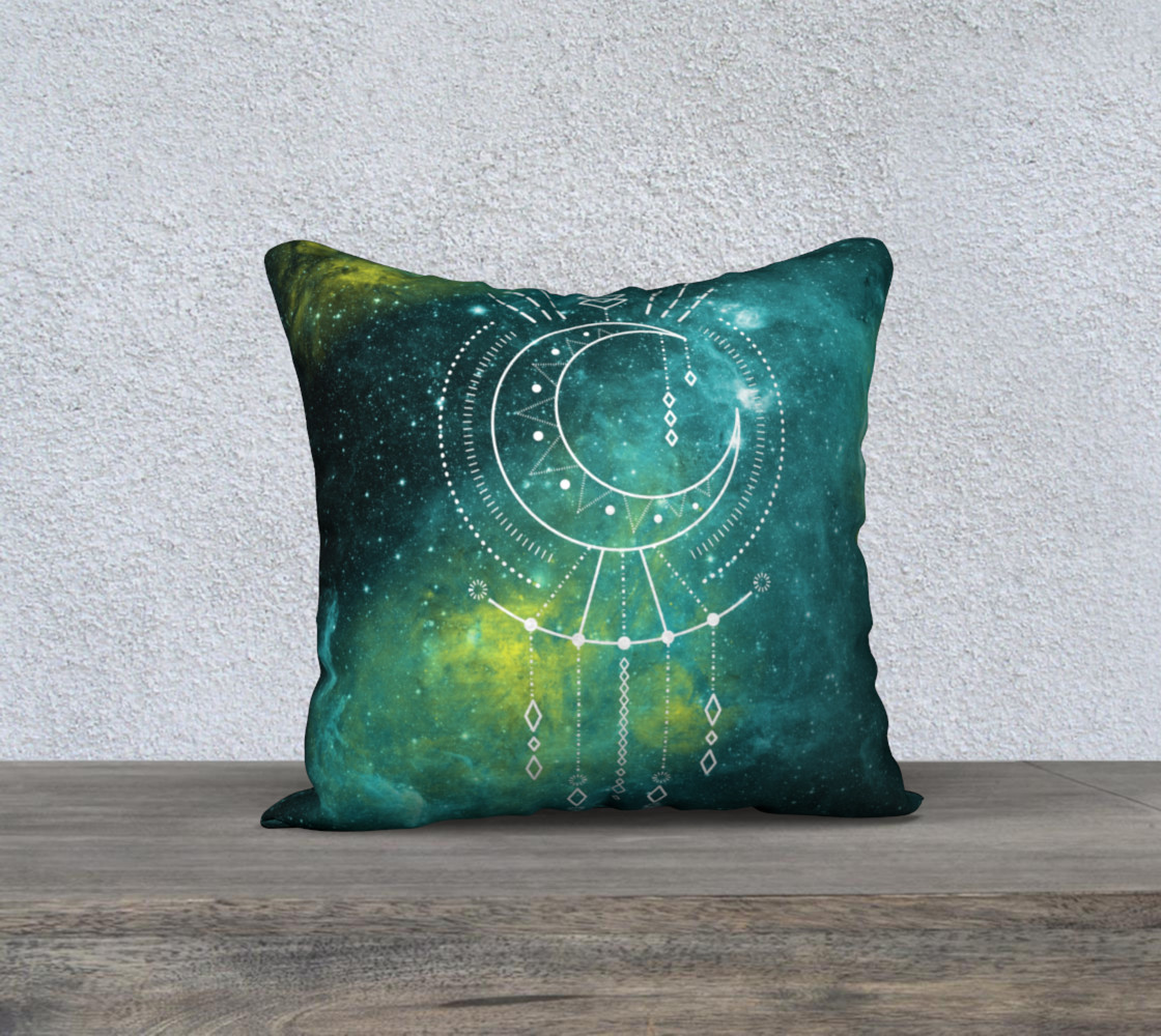 Blue green moon celestial geometric pillow preview #1