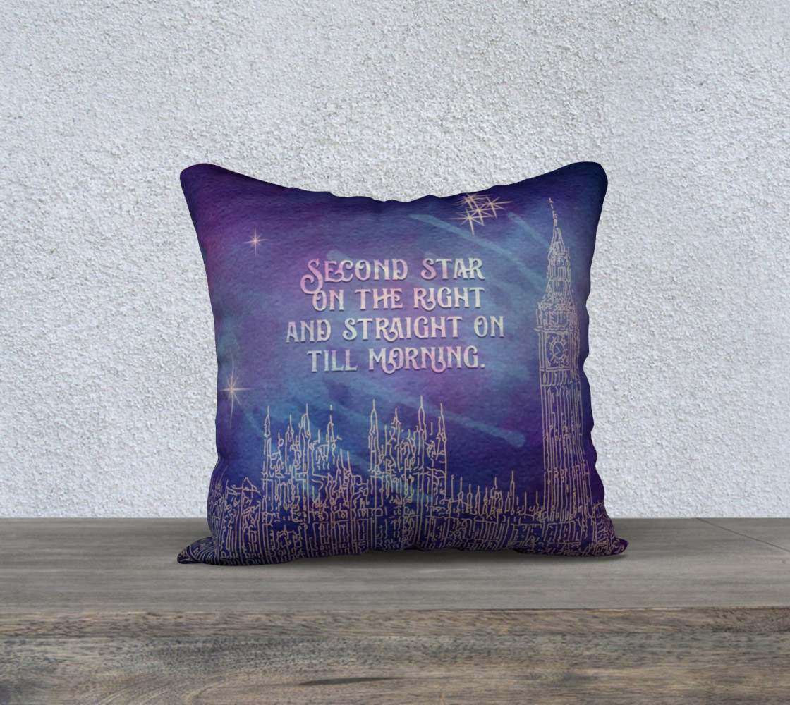 Peter Pan Quote Pillow - Second Star - Blue preview #1