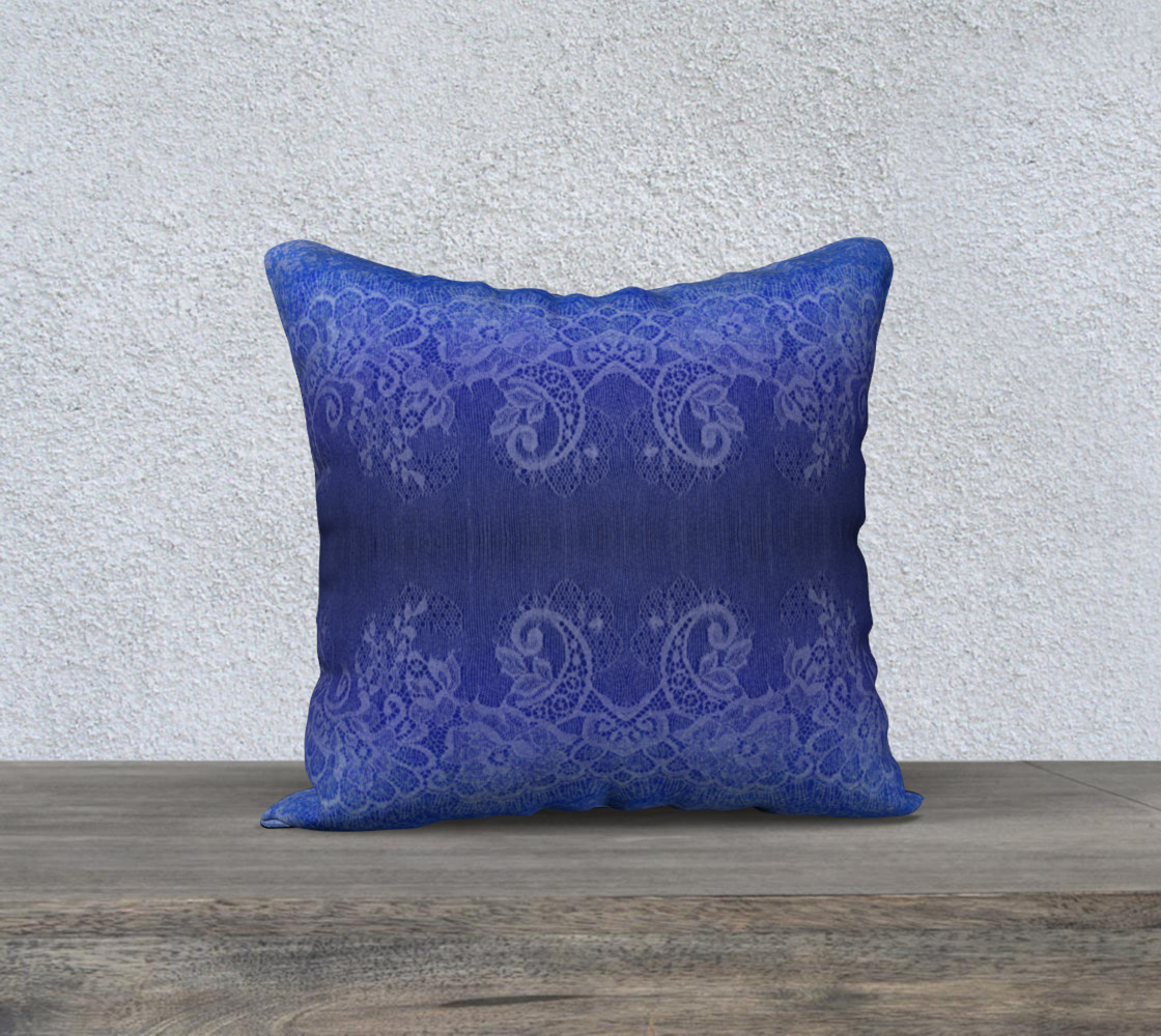 Blue Watercolor and Lace Pillow preview #1