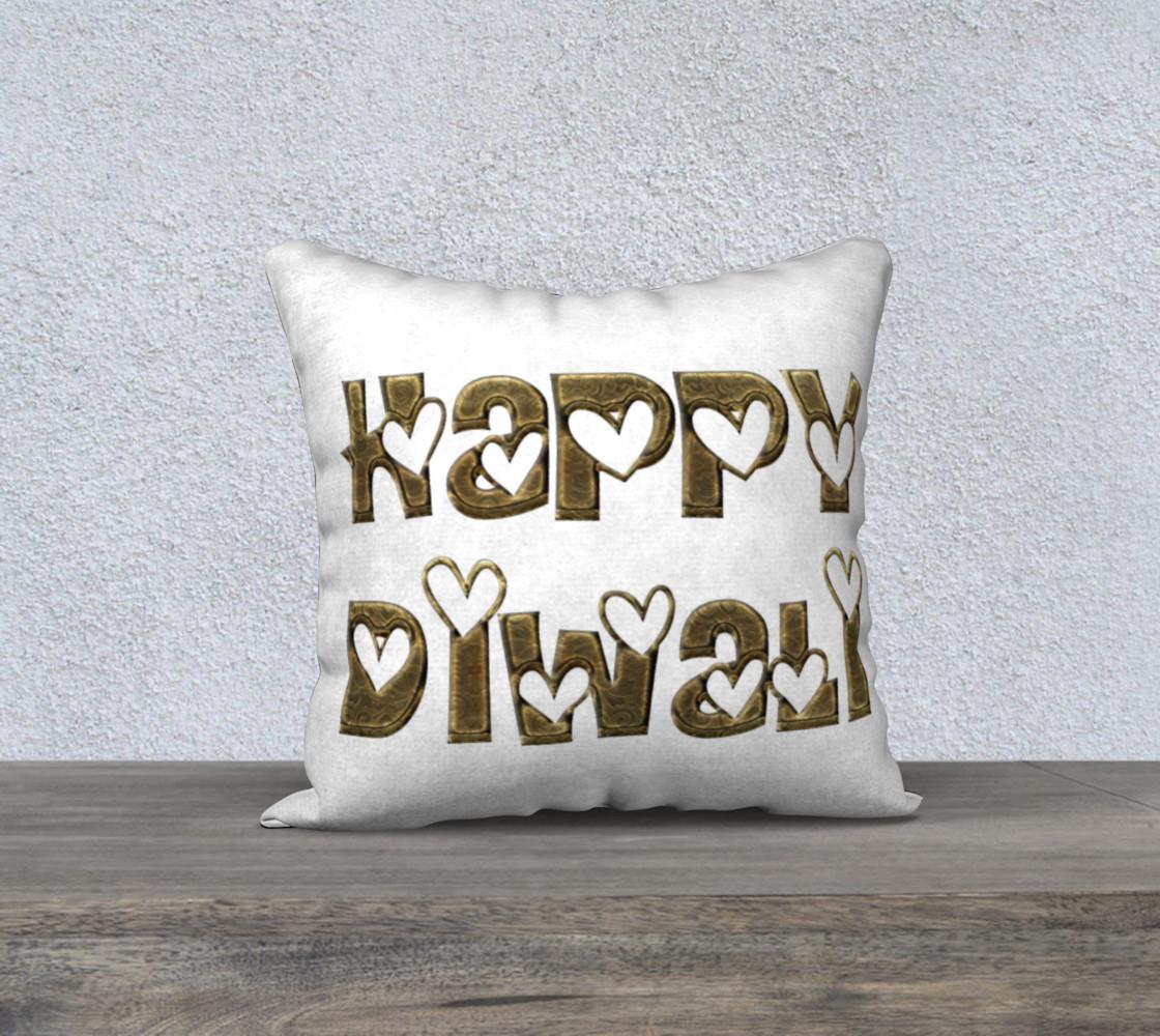 Aperçu de Festival of Lights Happy Diwali Greeting Typography Pillow #1