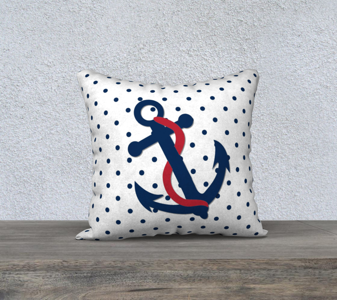 Anchor Pillow - Blue Anchor on Polka Dots preview #1