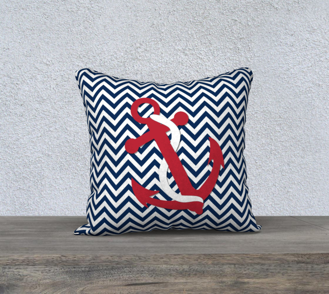Anchor Pillow - Red Anchor on Blue and White Chevron preview #1