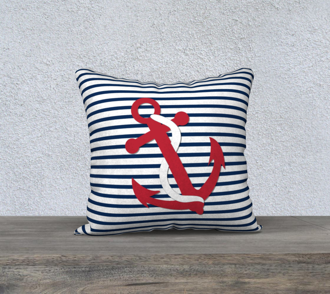 Anchor Pillow - Red Anchor on Blue and White Stripes preview #1