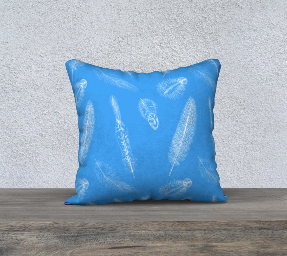Aperçu de Feather Pattern Blue Pillow #1