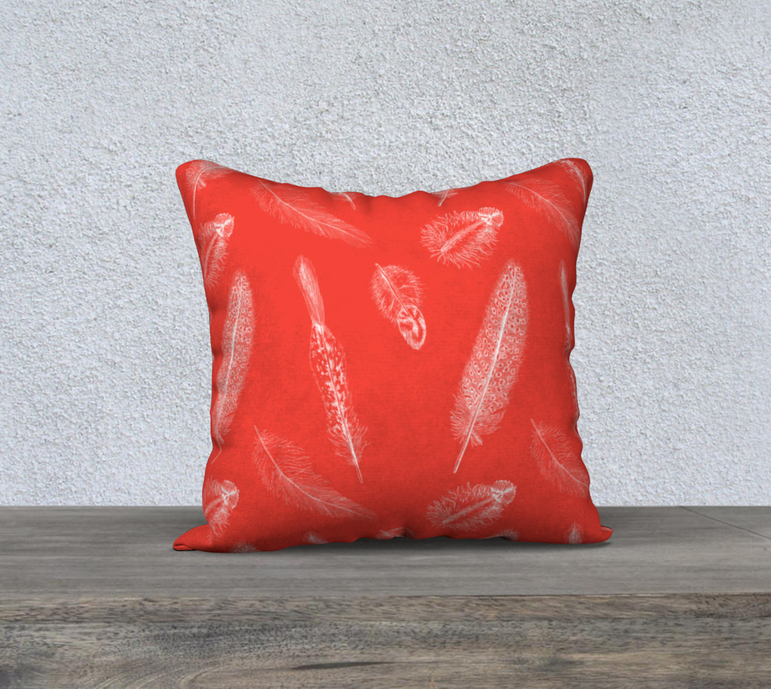 Feather Pattern Red Pillow  Miniature #2