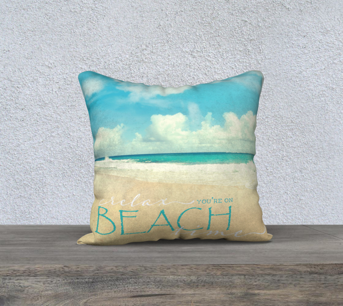 "Beach time 18"" white back preview #1"