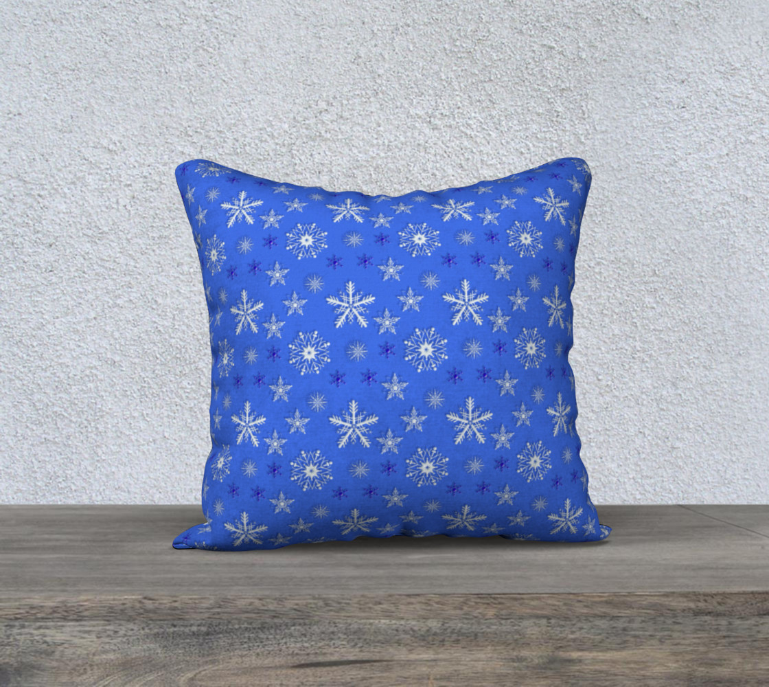 Christmas holiday snowflakes blue pattern Miniature #2