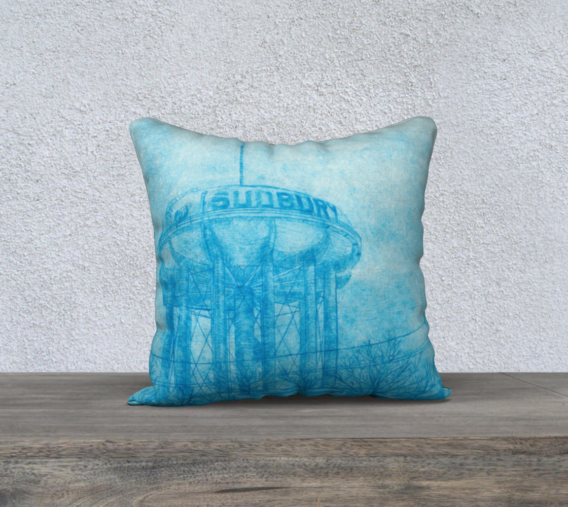 "The Sudbury Water Tower Blue 18"" x 18"" Pillow Case preview #1"