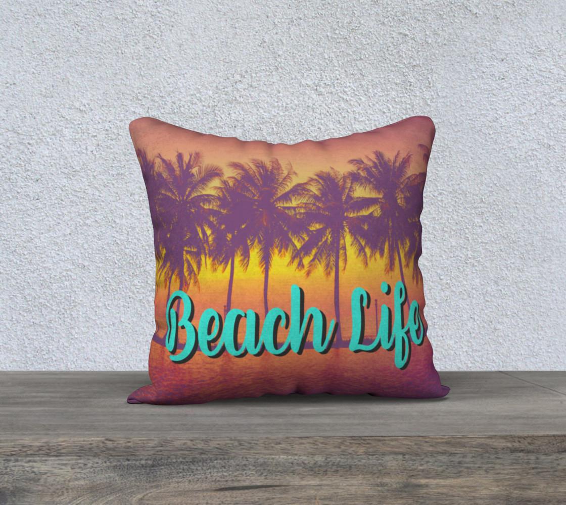 Aperçu de Beach Life tropical palm tree beach pillow cover #1