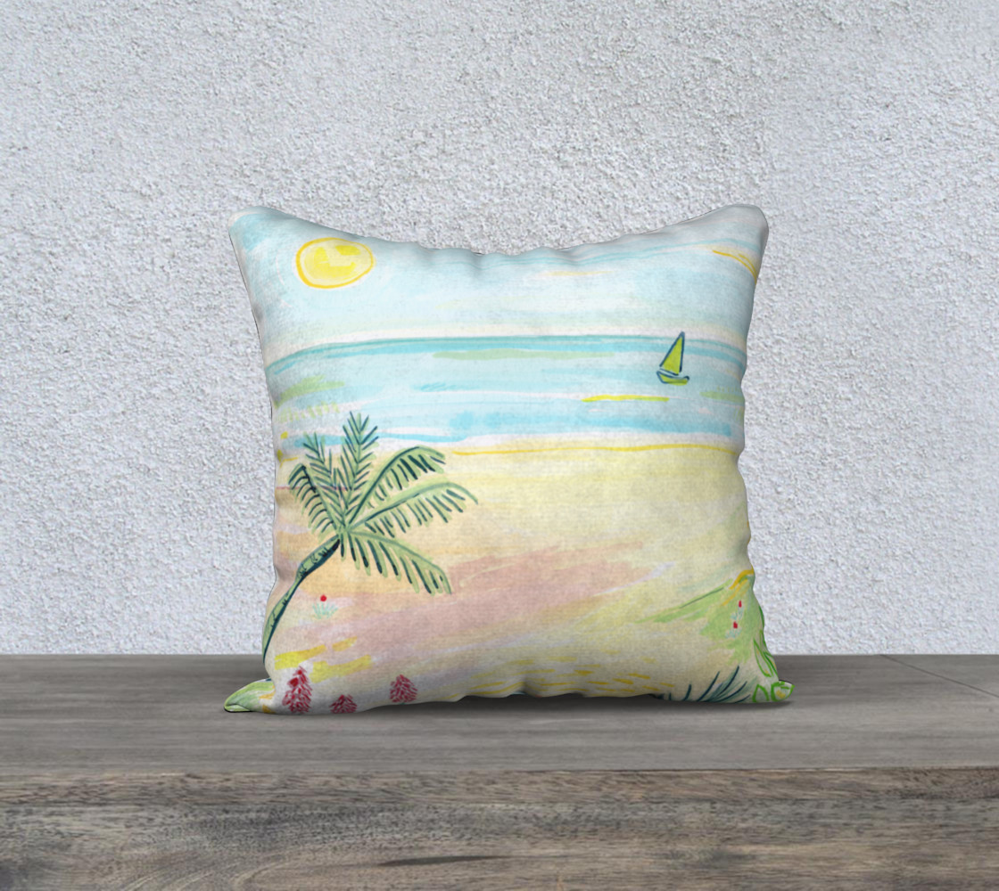 Beach Day Watercolor Pillow preview #1