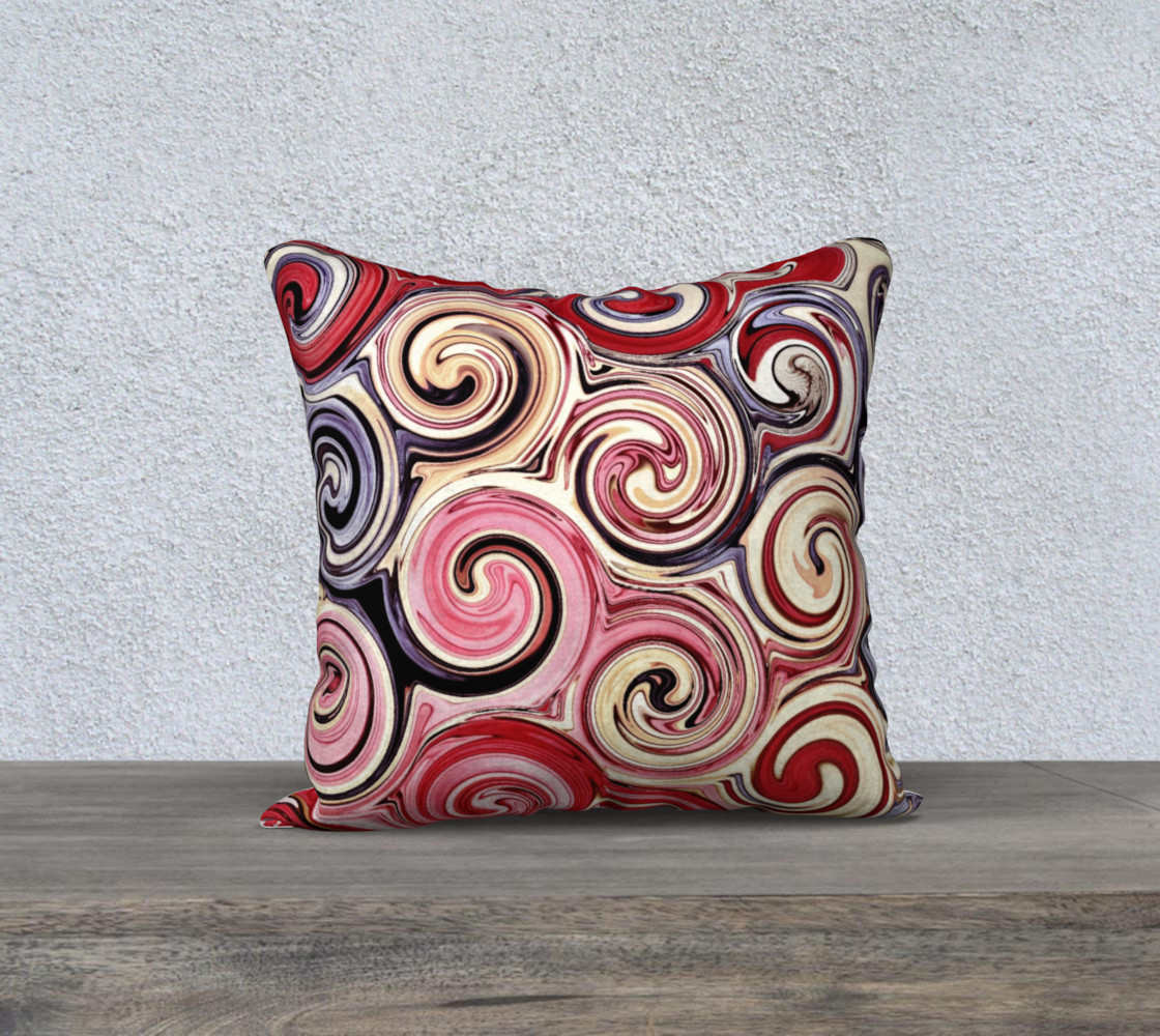 Swirl Me Pretty Pink Red Blue Throw Pillow Cover preview #1