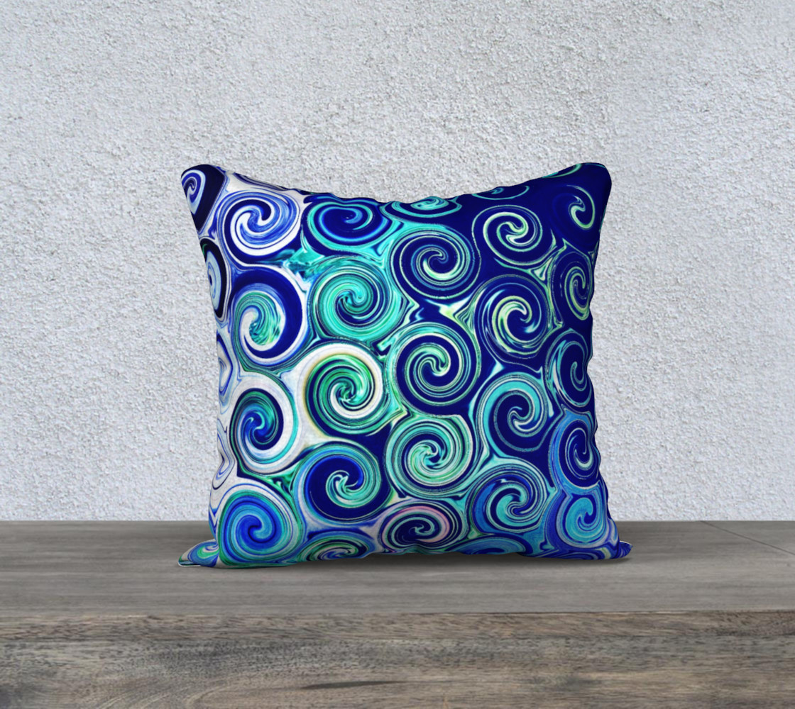 Blue Swirls Accent Throw Pillow Cover preview #1