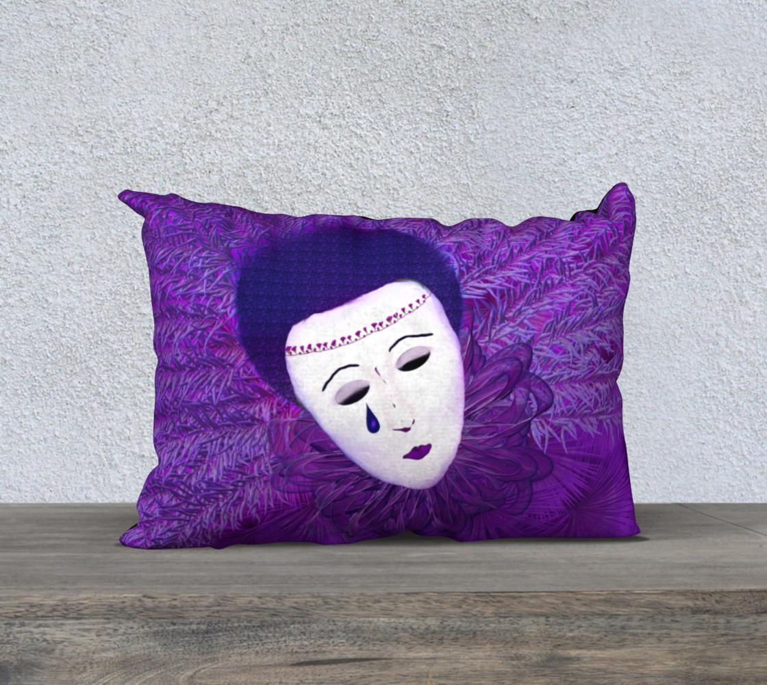 Purple Festival Sad Clown Mask 20 x 14 Pillow Case preview #1