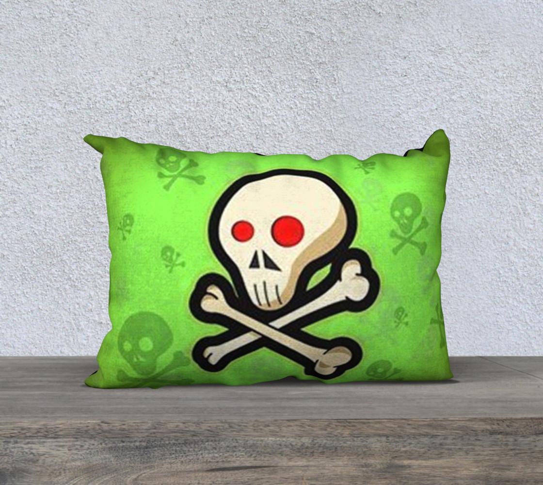 Cartoon Skull On Green 20 x 14 Pillow Case preview #1