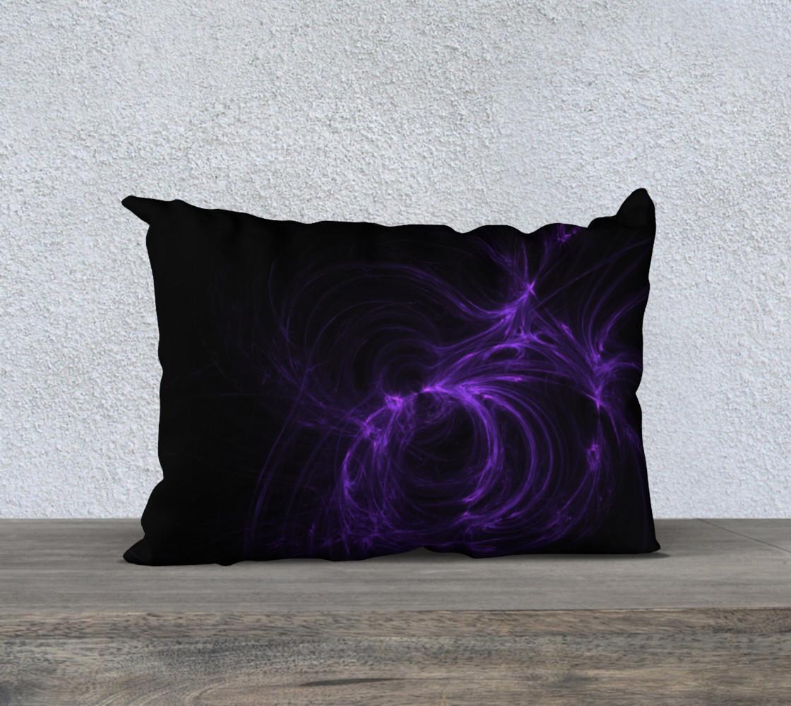 Purple Fractal on Black Pillow Case  20 x 14 preview #1