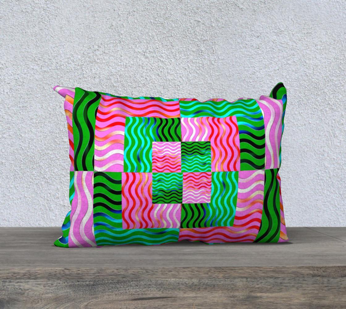 Aperçu de Multicolored Wavy Blocks Geometrical Throw Pillow #1