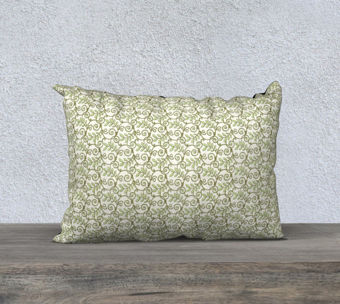 Green Cream Leafy Lace Floral 20x14 Pillow Case preview #1