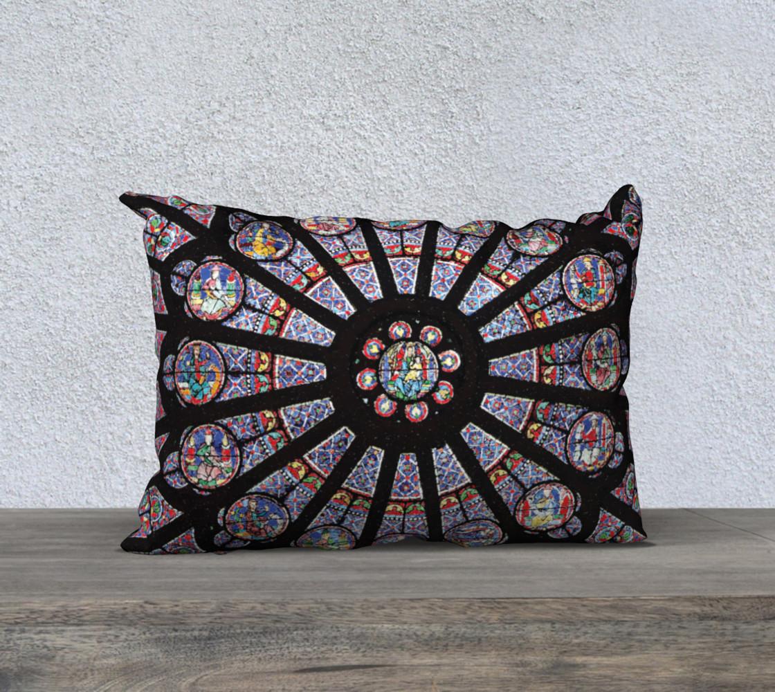 """Rose South Window, Notre Dame Paris  20"""" x 14"""" Decorative Pillow Case preview #1"""