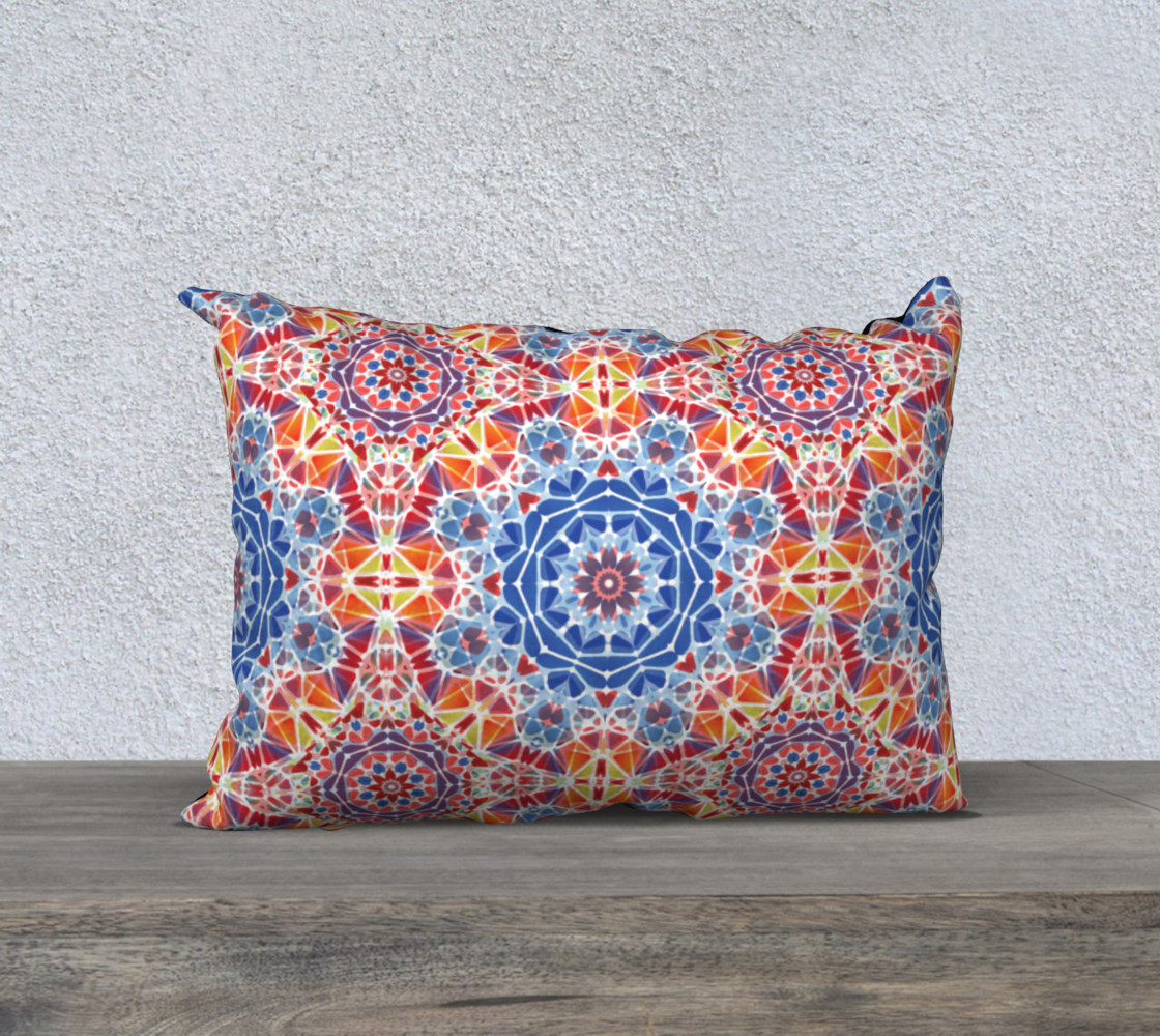 """Blue and Orange Kaleidoscope 20"""" x 14""""  Decorative Pillow Case preview #1"""