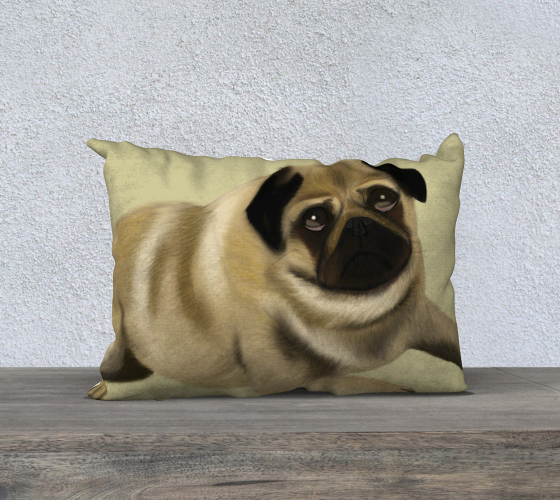 """Pug Love Pillow 20"""" x 14"""" preview #1"""