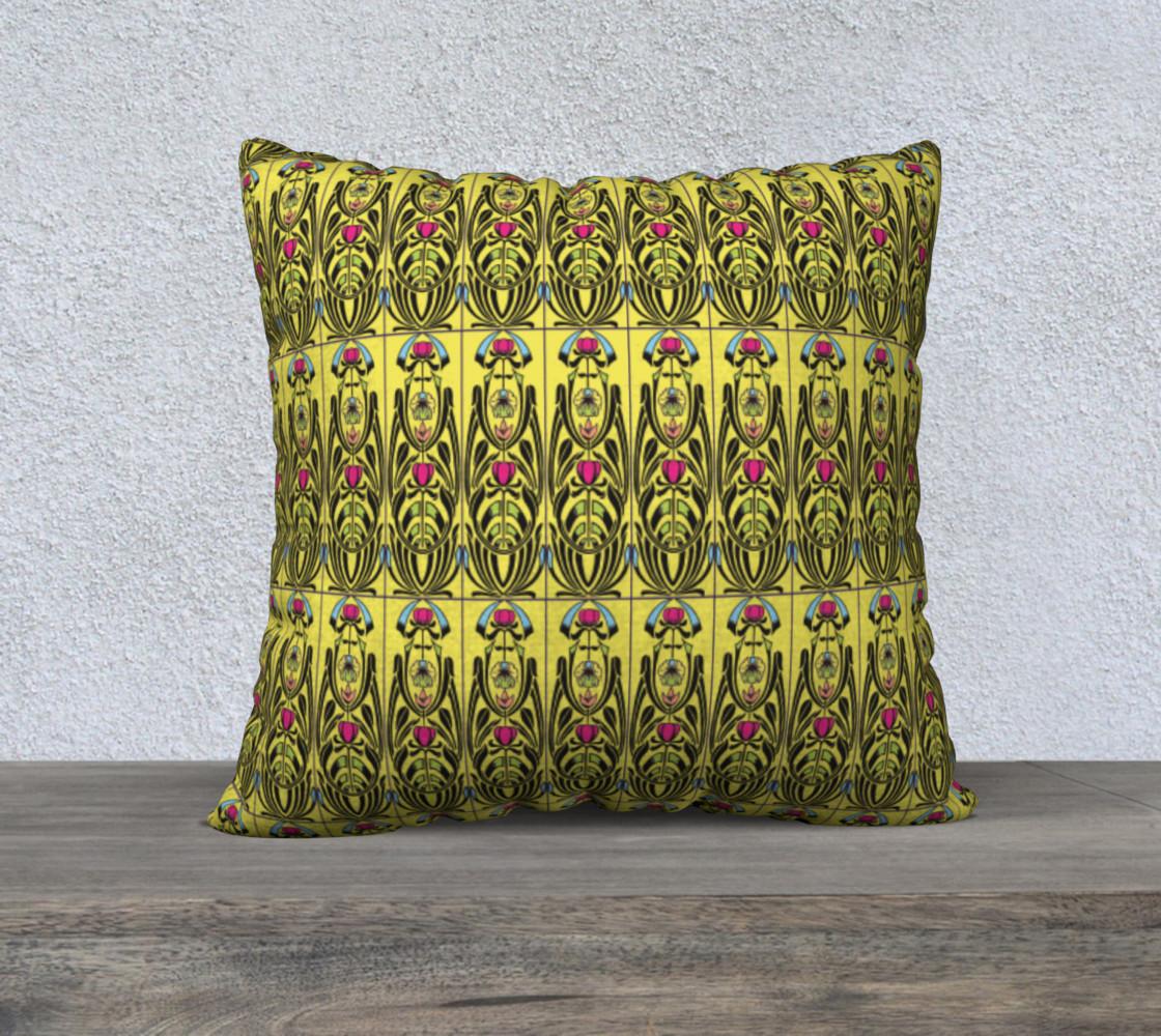 Aperçu de Yellow Nouveau 22 x 22 Pillow Case #1