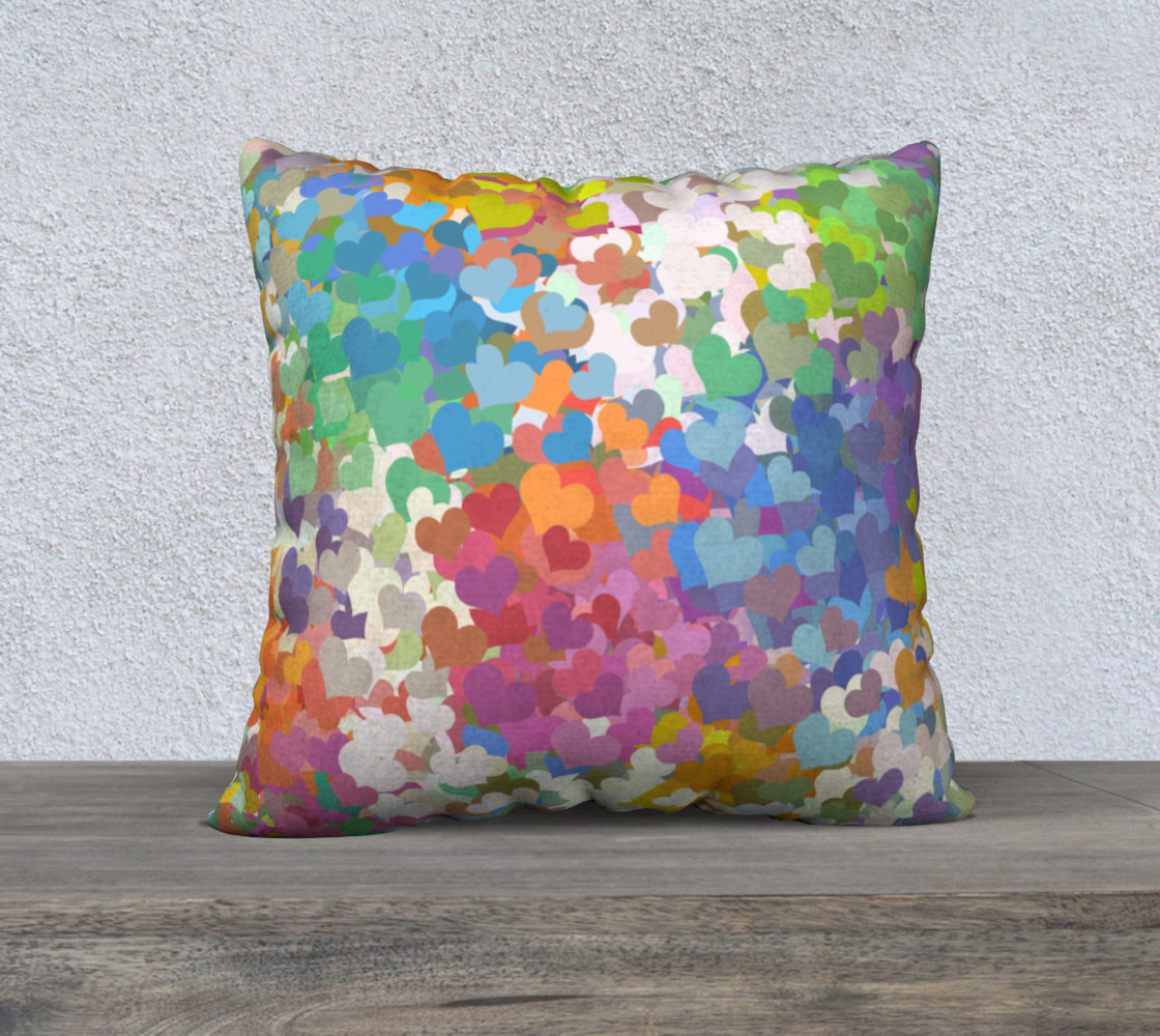 Pastel Tiny Confetti Hearts Throw Pillow preview #1