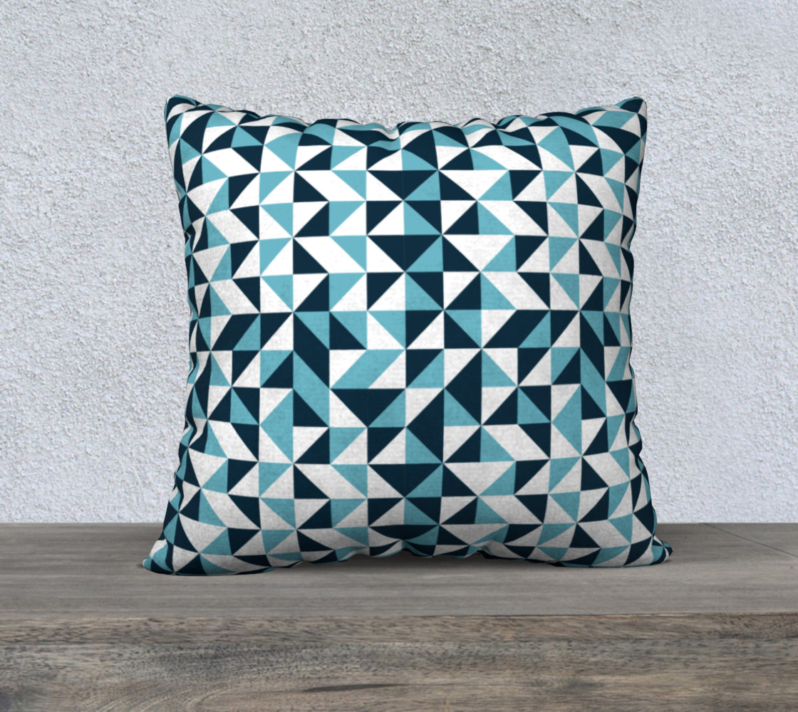 Blue Triangles 22x22 Pillow Case preview #1