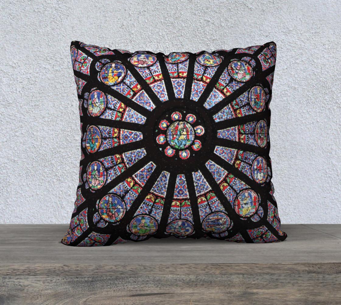 """Rose South Window, Notre Dame Paris 22"""" x 22"""" Decorative Pillow Case preview #1"""