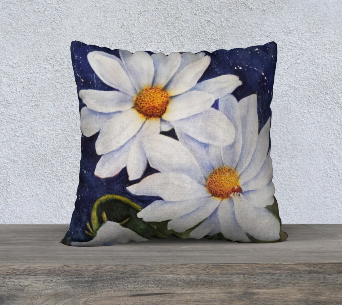 White Daisies Lady Bug Pillow Case 3D preview