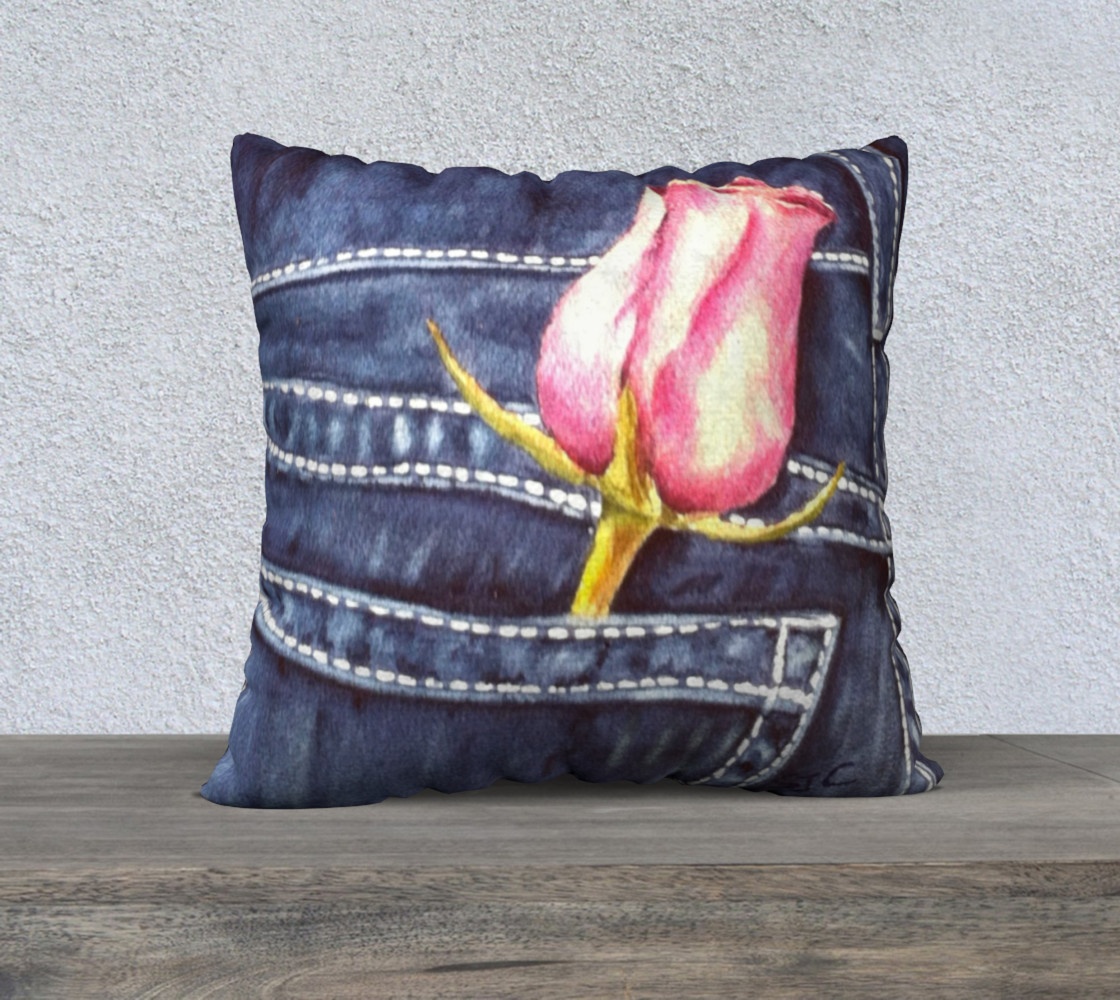 Single Pink Rose Pillow Case preview #1
