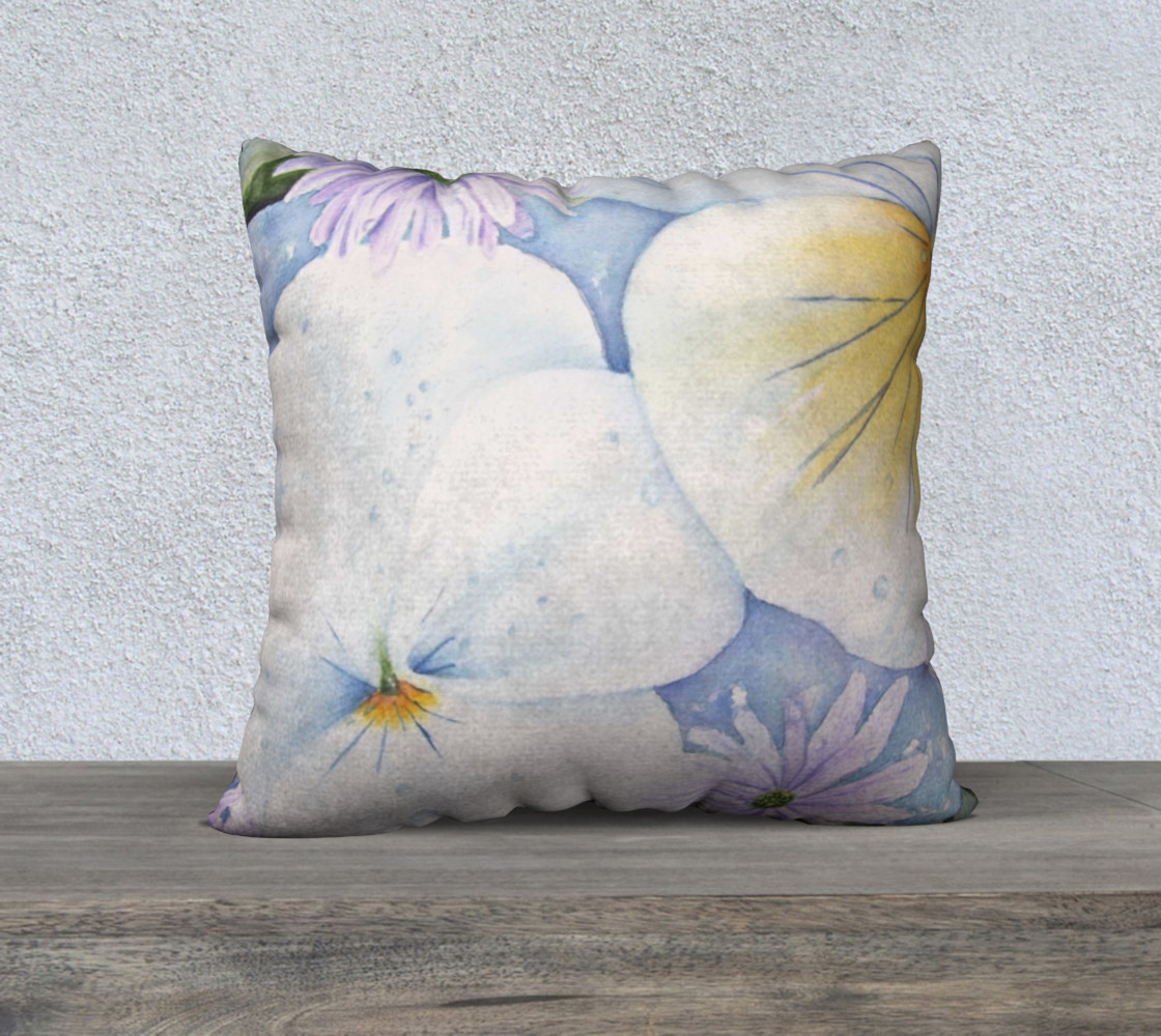 White Pansies Pillow Case preview #1