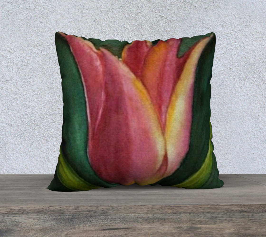 Red Orange Tulip Pillow Case 3D preview