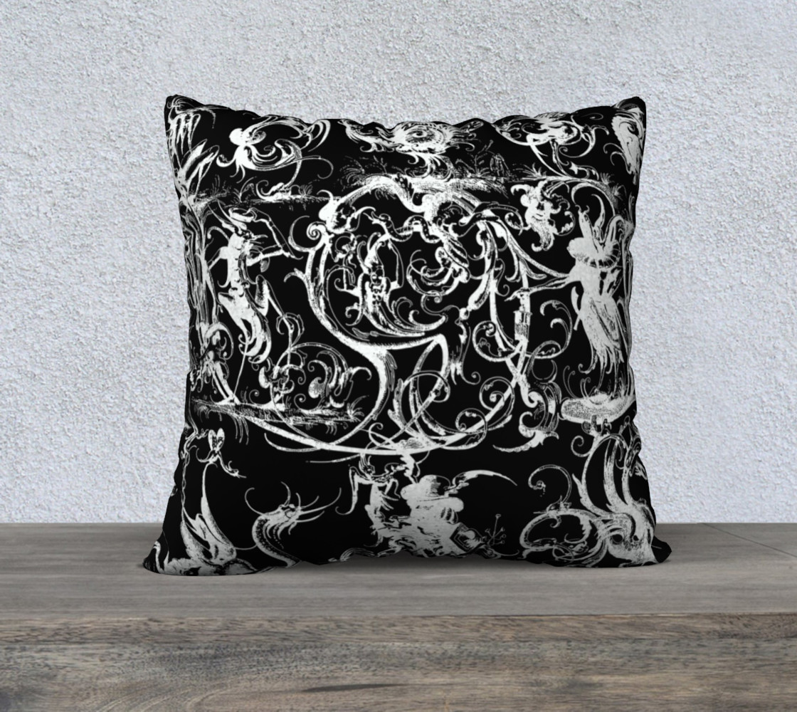 "Grotesques B&W - 22"" x 22"" Pillow Miniature #2"