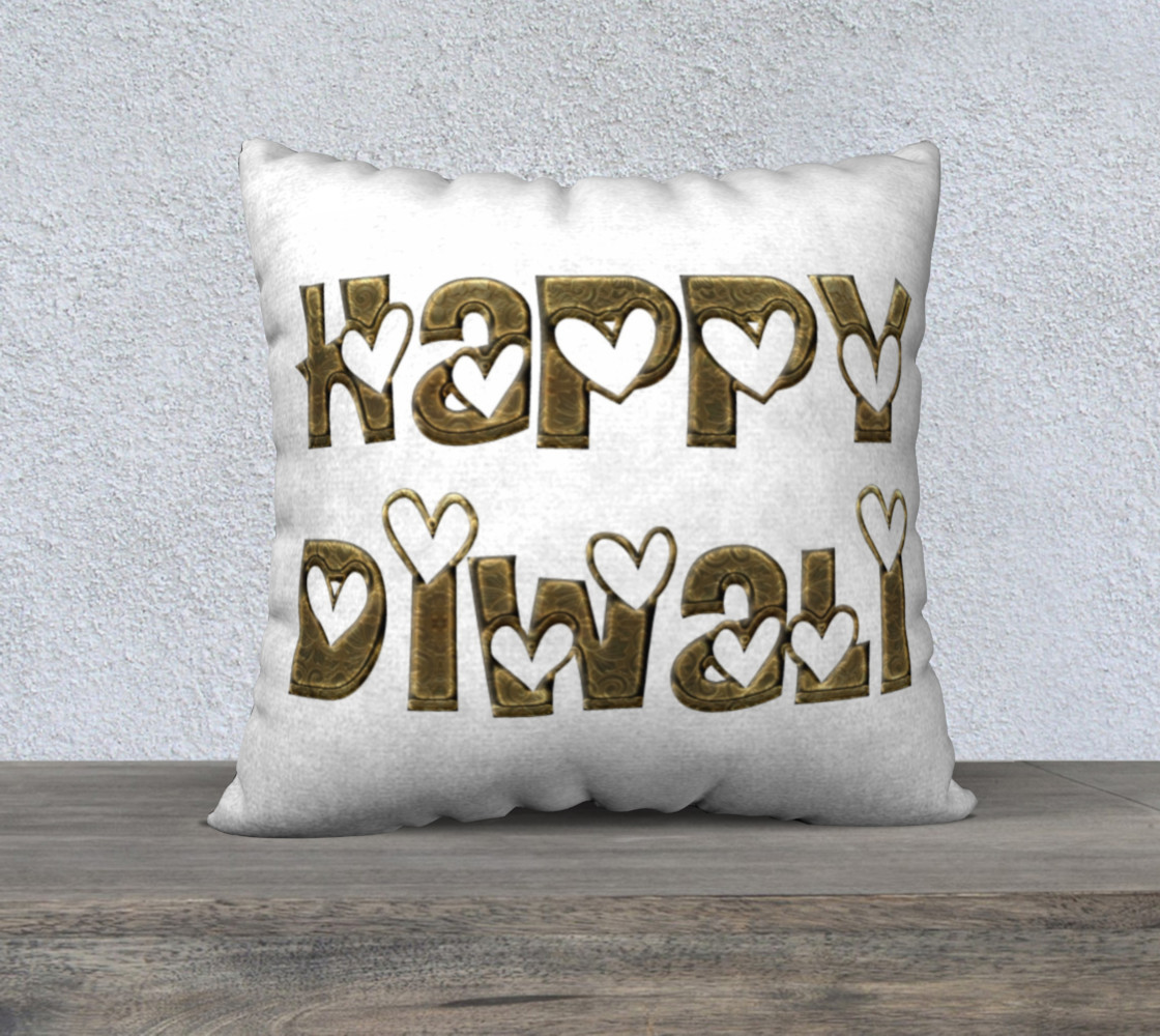 Aperçu de Festival of Lights Happy Diwali Greeting Typography Pillow #1